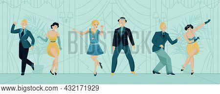 Retro Twenties Background With Dancing People Symbols Flat Vector Illustration