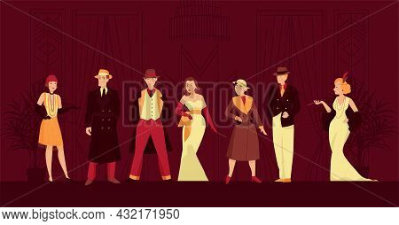 Retro Twenties Background With Clothes And Accessory Fashion Symbols Flat Vector Illustration