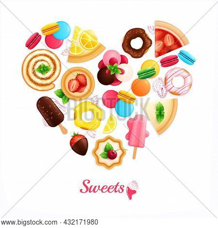 Desserts Sweets Cafe Confectionary Heart Shaped Advertising Composition With Ice Cream Chocolate Cov