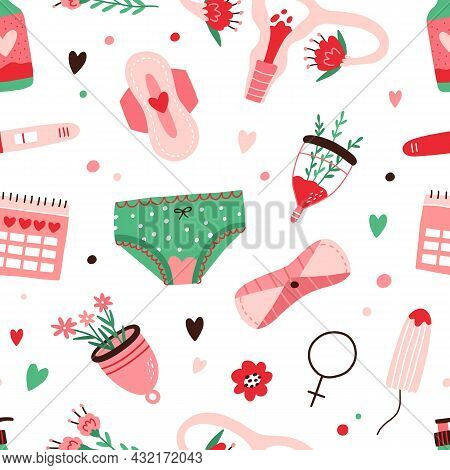 Seamless Menstruation Pattern With Period Blood, Womans Panties, Menstrual Cup, Reusable Pad, Tampon