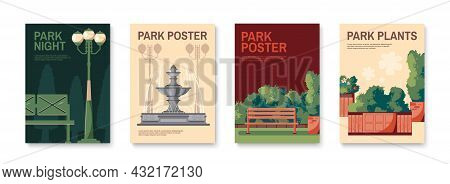 Four Retro Park Posters Set With Traditional Elements Day Night Lanterns Topiary Bushes Planters Fou
