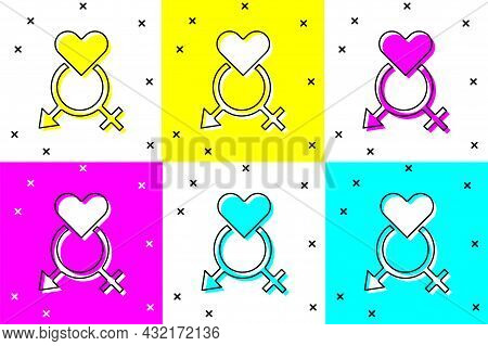 Set Gender Icon Isolated On Color Background. Symbols Of Men And Women. Sex Symbol. Vector