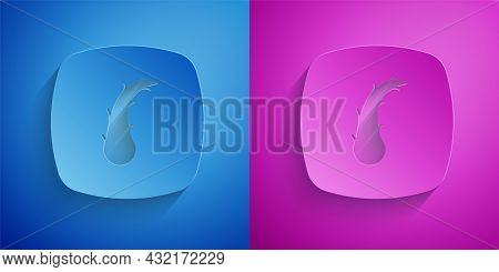 Paper Cut Human Hair Follicle Icon Isolated On Blue And Purple Background. Hair Care Treatment. Pape