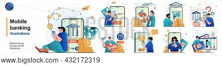 Mobile Banking Isolated Set. Payments For Services Using Mobile Application. People Collection Of Sc