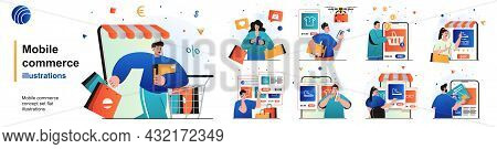 Mobile Commerce Isolated Set. Shopping In Mobile App, E-commerce, E-business. People Collection Of S