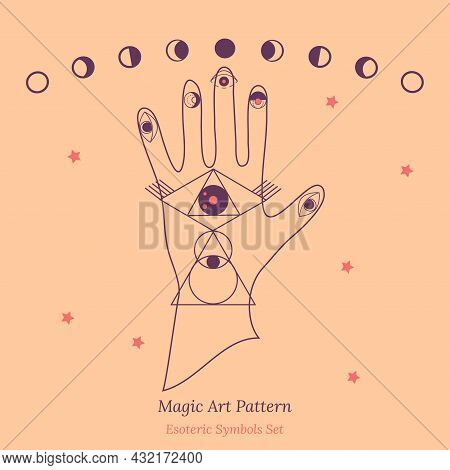 Set Of Esoteric Symbols For Fortune Telling By Hand. Illustration Of Magic Session, Look Into Future