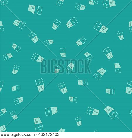 Green Container Icon Isolated Seamless Pattern On Green Background. Crane Lifts A Container With Car
