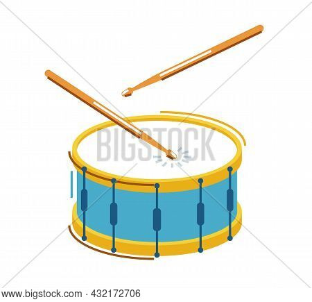 Drum Musical Instrument Vector Flat Illustration Isolated Over White Background, Snare Drum Design.