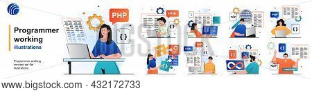 Programmer Working Isolated Set. Devops, Coding, Programming Software Testing. People Collection Of