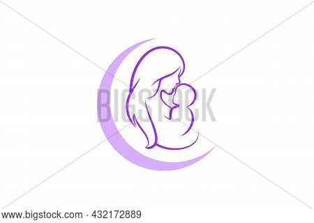 Mother And Baby Logo Vector Symbol. Mom Hugs Her Child Logo Template