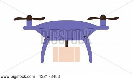 Drone Delivery. Unmanned Copter Delivering Cardboard Box. Air Robot Courier Flying, Transporting Par