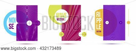 Moire Op Art Vector Design Elements, Graphic Style Posters And Banners And Brochures Set, Abstract M