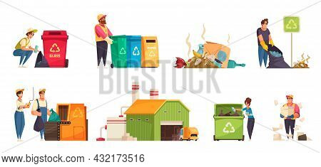 Collecting Sorting Recycling Garbage Cartoon Compositions Set With Human Characters Plant Building D