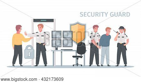 Security Guard Agency Service Cartoon Composition With View Of Prohibition Of Entry And Arrest Of Tr