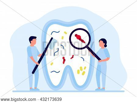 Tooth Is Cleaned From Bacteria, Tartar, Whitening And Treatment, Checkup By Dentist. Teeth Repair, D