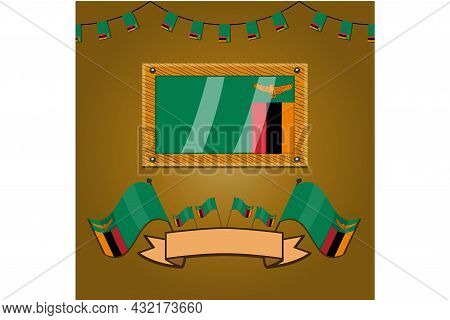 Zambia Flags On Frame Wood, Label, Simple Gradient And Vector Illustration