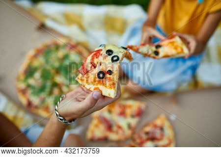 Sharing Pizza, Hands Taking A Piece Of Pizza From A Box Outdoor,