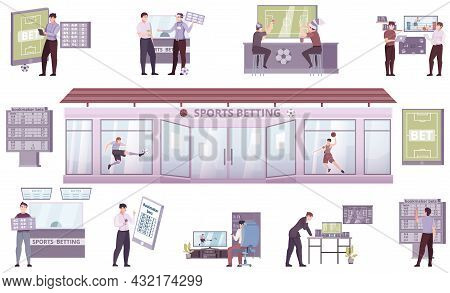 Sports Betting Flat Set With Bookmakers Office And People Holding Placards With Football Results Tab