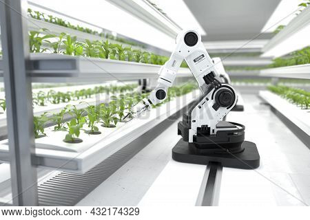Smart Robotic Farmers Concept, Robot Farmers, Agriculture Technology, Farm Automation. 3d Illustrati