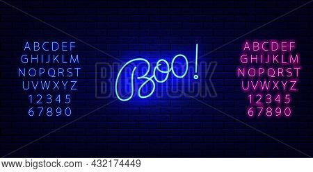 Boo Neon Brush Lettering With Glowing Alphabet. Scary Inscription. Happy Halloween Banner. Night Bri