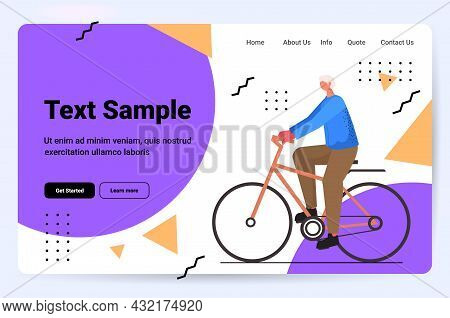 Senior Man Cycling Aged Sportsman Riding Bicycle Workout Healthy Lifestyle Active Old Age Concept