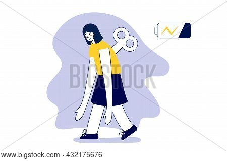 Tired Woman Going Forward With A Discharged Battery In The Thoughts Fatigued Female Is In Emotional
