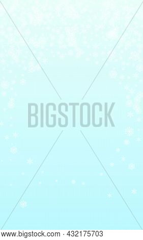 White Snow Background Vector Blue. Snowflake Particles Pattern. Grey Confetti Ice Card. Frosty Flake