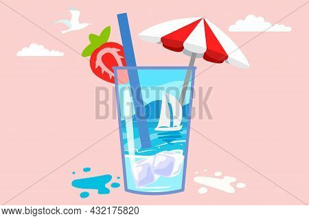 Summer Beach In A Cocktail Mug Fun Creative Concept Design With Cocktails Panorama Of Sea And Beach