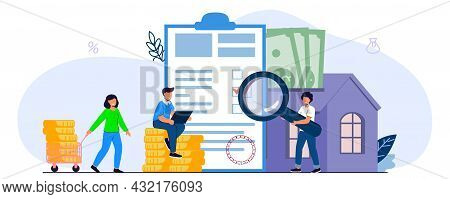 Mortgage Saving To Buy A House Or Home Savings Vector Illustration Concept Planning Savings Money To