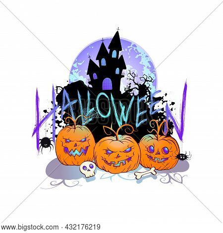 Halloween Illustration With Cute Pumpkins,sinister Castle, Skull And Lettering On A White Background