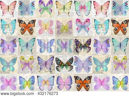 Paper Grunge Newsprint Patchwork Horizontal Background With Colorful Watercolor Butterflies. Retro S