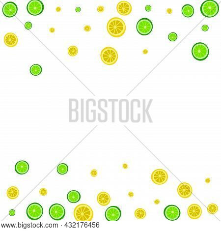 Juicy Fruit Background White Vector. Citrus Mojito Illustration. Yellow Funny Lime. Green Juice Patt