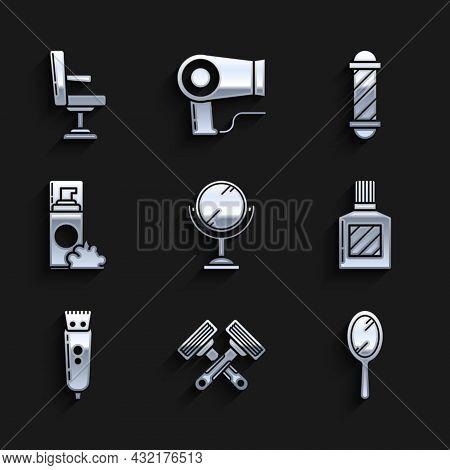Set Hand Mirror, Crossed Shaving Razor, Aftershave, Electrical Hair Clipper Shaver, Shaving Gel Foam