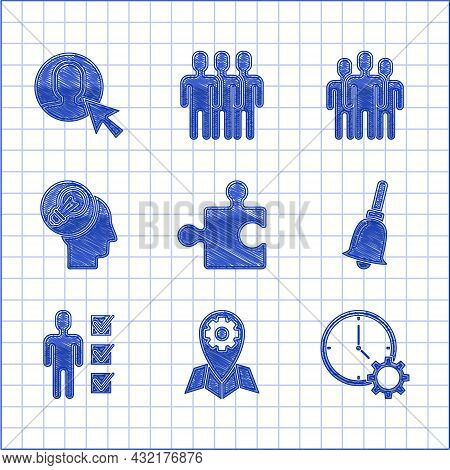 Set Piece Of Puzzle, Location Job, Time Management, Ringing Bell, User Man Business Suit, Human Head