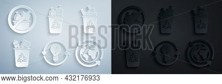 Set Recycle And Light Bulb With Lightning Symbol, Bin Recycle, Planet Earth Recycling, And No Trash