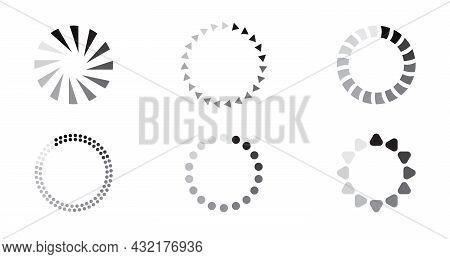 Updated Progress Circle Bar Set Icon Vector. Loader Symbol Button. Load Progress Bar For App, Websit