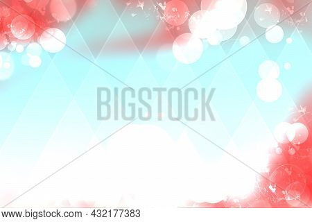 Abstract Gradient Red Pink Light Blue White Background Texture With Blurred Bokeh Circles And Lights