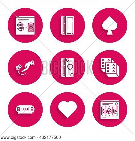 Set Deck Of Playing Cards, Playing With Heart Symbol, Online Slot Machine, Game Dice, Poker Table, H