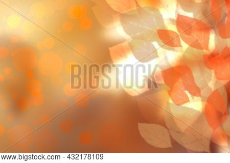 Hello Autumn Background. Abstract Autumn Gradient Gold Yellow Orange Various Leaves Texture. Indian