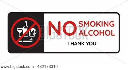 No Smoking Alcohol And Thank You Text In Banner With White Wine Glass, Liquor Bottle, Beer Glassred