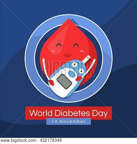 World Diabetes Day Banner Drop Blood Charector Hold Blood Glucose Meter In Blue Ring Circle Sign Vec