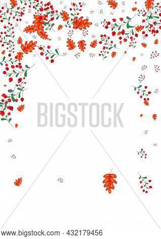 Green Leaf Background White Vector. Berries Landscape Set. Burgundy Herb Gradation. October Card. Fo