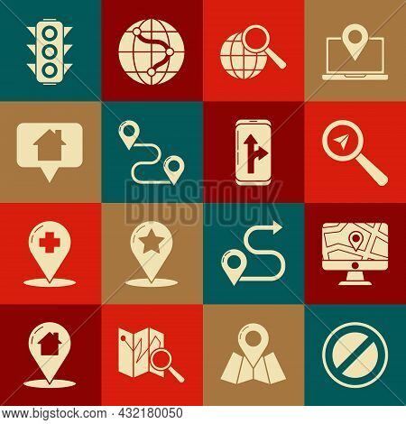 Set Stop Sign, Monitor And Folded Map With Location, Search, Magnifying Glass Globe, Route, Map Poin