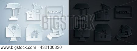 Set Cardboard Box With House, Doormat The Text Welcome, Monitor In Heart Shape, Realtor, House And T