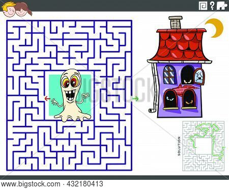 Cartoon Illustration Of Educational Maze Puzzle Game With Ghost And Haunted House Characters