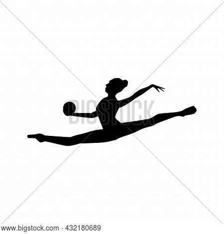 Gymnastics Woman Silhouette In A Ball Jump Vector Silhouette. Gymnastics Woman Silhouette With A Bal