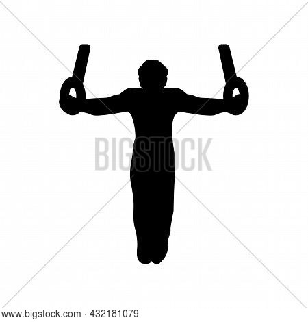 Gymnast Silhouette With Two Rings Vector Silhouette. Gymnast Silhouette With Two Rings Simple Isolat