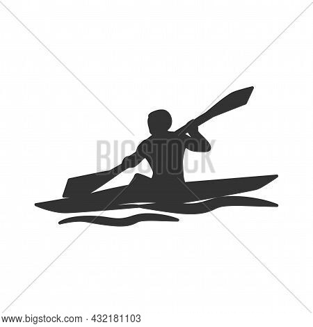 Kayaking Vector Silhouette. Kayaking Simple Isolated Icon.