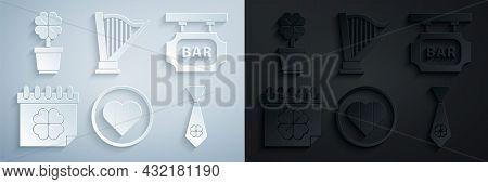 Set Heart And Happy Saint Patrick Day, Street Signboard With Inscription Bar, Patricks Calendar, Tie