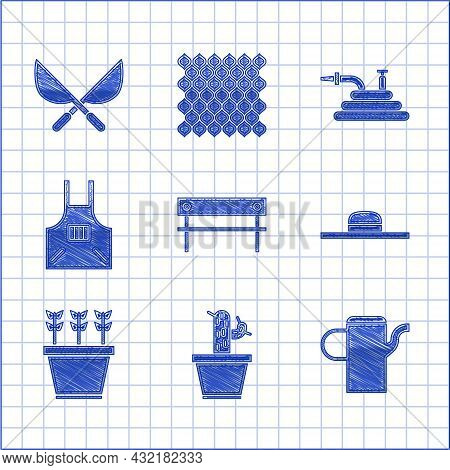 Set Bench, Cactus And Succulent In Pot, Watering Can, Worker Hat, Plants, Kitchen Apron, Garden Hose